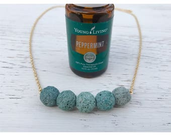 Turquoise Or Rose Pink Lava Rock Bar Necklace Mordern Aromatherapy Bead Diffuser Necklace