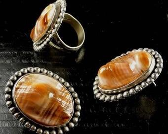 "Native American Ring & Earrings Set signed:""JC"" Sterling with Lovely Gemstones ET4523"