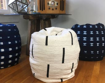 Black And White Or Shibori Indigo Mudcloth Poofs Bean Bag Chair Ottoman