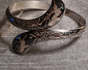 Siam Dancers Sterling Silver Bangle/Cuff/Wrap Style bracelet with Safety Chain
