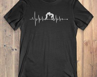 Wrestling T-Shirt Gift: Heartbeat Wrestling