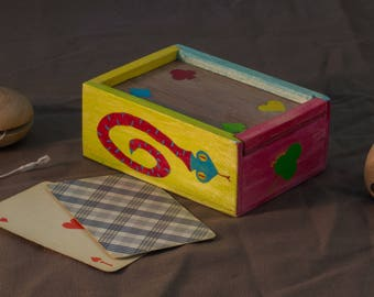 Card game wooden storage box