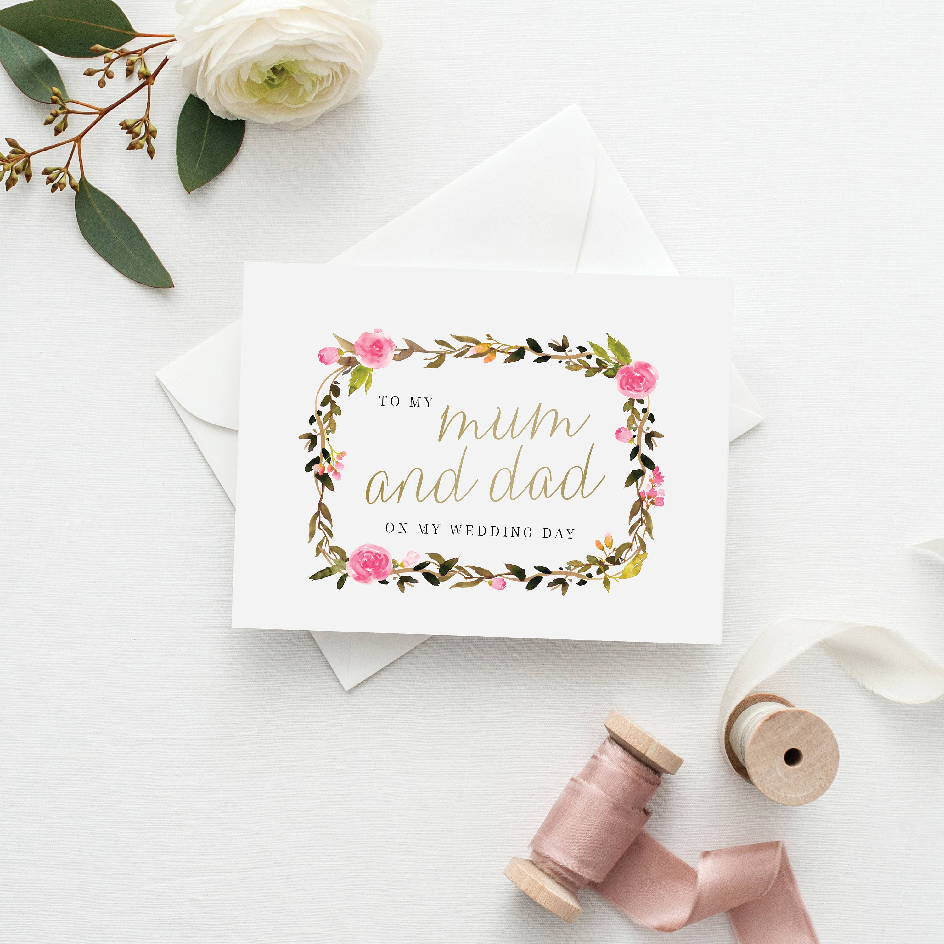 Printable 5x7 To my Mum & Dad Card | To My Parents Wedding Card ...