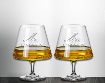 Set of 2, Mr. and Mrs. Housewarming Crystal Brandy Snifter Glass Custom Personalized