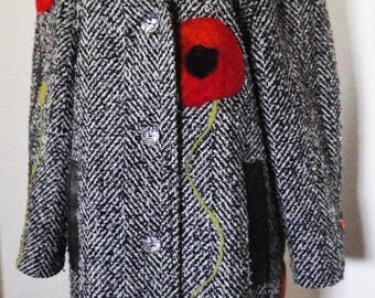 Refashioned Ladies Coat - mid-length, wool blend, hand felted black and white coat