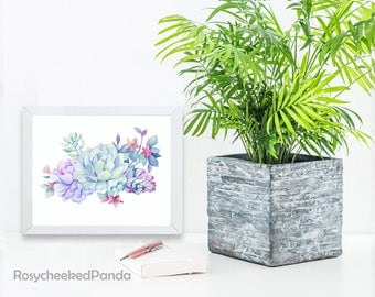 Succulent watercolor print, cactus print,printable wall art print,instant digital download,succulent wall art,botanical decor,flower print,