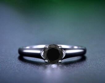 Round Black Diamond Engagement Ring 14k White Gold or Yellow Gold or Rose Gold Modern Black Diamond Ring Proposal Ring Anniversary Ring