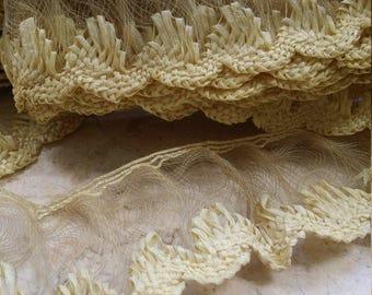 "1.75"" Creamy Butter Yellow Millinery Braid straw, Raffia, trim, Viscose, horsehair, Hat braid"
