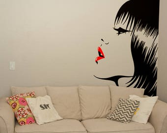 Beautiful Woman face with red Lips Wall Decal Sticker, Portrait Silhouette Artistic, Artistic wall decals for home improvement