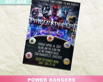 Power Rangers Invitation, Power Rangers Birthday Party, Power Rangers Printable Invite, Digital Party Card, Kids Birthday, INV-027