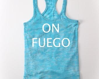 On Fuego(fire) Blue Burnout Racerback Tank