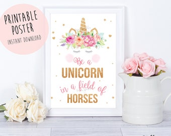 Refreshing image throughout be a unicorn in a field of horses free printable