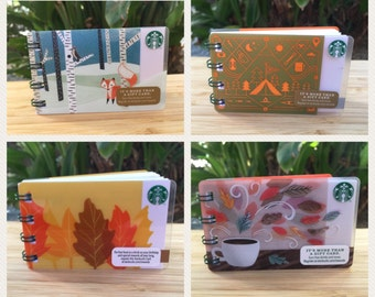 Starbucks Upcycled Gift Card Notebook- Mini Notepad Fall Autumn Outdoors Camping