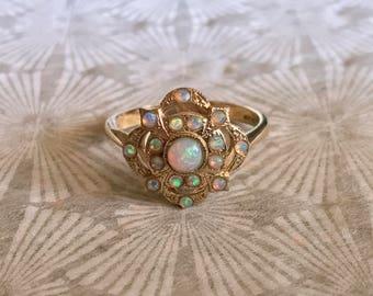 Vintage Opal Cluster Shield Ring