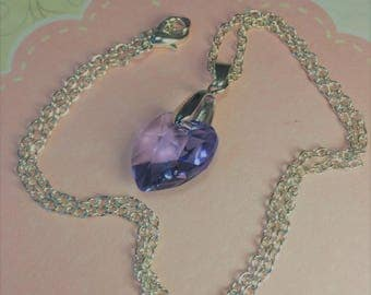 Silver plated pendant with large lilac sparkly Swarovski heart