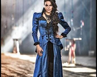 OUAT Evil Queen Regina Blue Victorian Costume, Custom-made