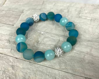 Blue Matte Druzy Agate Quartz Bracelet with Pave Crystal Beads and Polished Turqouise Agate Beads