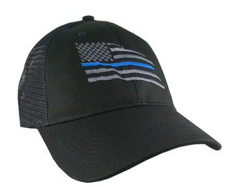 American Thin Blue Line Wavy US Flag Embroidery on an Adjustable Black Structured Adjustable Classic Trucker Style Mesh Cap