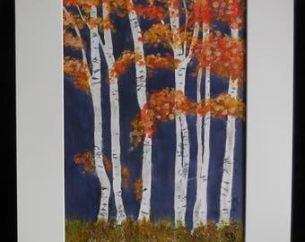 Original Art, Silver Birch, Trees, Autumn, Mixed Media, Watercolour, Acrylic, Texture