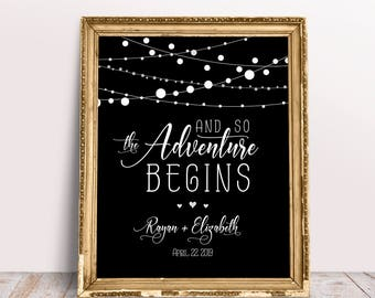 And So The Adventure Begins, Wedding Ceremony Sign, Personalized Sign, Custom Wedding Sign, Adventure Begins Sign, Wedding Quote Sign