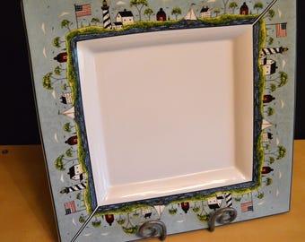 """Coastal Breeze 15"""" Square Tray Platter by Sakura NY, Warren Kimble, US Flag, Lighthouse, Sailboat, Beach Theme"""