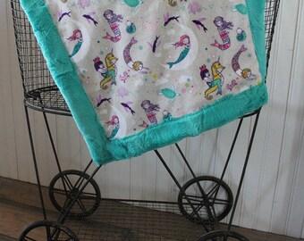 minky blanket, baby blanket, lovey blanket, mermaid  blanket, baby gift, minky baby blanket, baby shower gift,