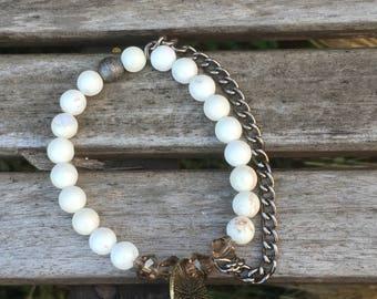 White Magnesite beaded bracelet