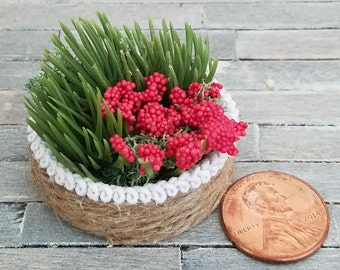 Miniature Flower Basket, Dollhouse Flower Basket, Miniature Greenery, Miniature Flowers, Dollhouse Accessories
