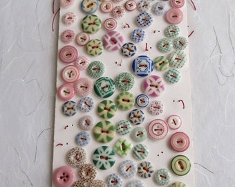 110 + Antique china calico red blue green vintage button collection