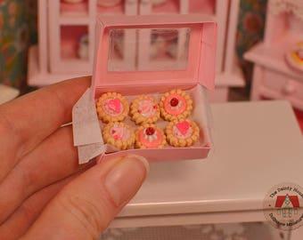Miniature Valentine Tarts, Miniature Tarts for Dollhouse, 1:12 Scale Dollhouse Desserts
