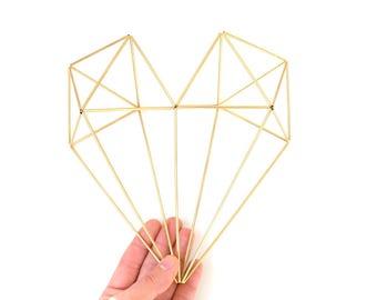 Brass Himmeli Heart, 3D Heart, Modern Minimalist Heart Himmeli Mobile, Geometric Ornament, Air Plant Holder