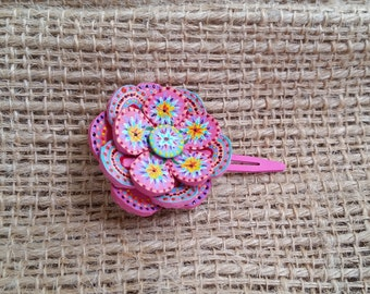 Hand crafted hand painted flower hair clip