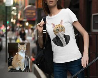 Custom cat t-shirt for women - Cat Lover Gift for Cat Lovers - Gift For Girlfriend - Gift for crazy cat lady - Gift for her