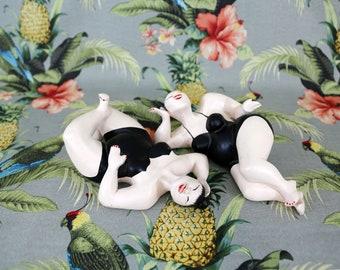 Vintage Chalkware Sunbathing Women