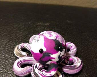 Handmade Polymer Clay White/Black/Purple Octopus