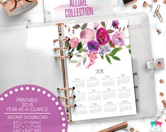 Printable Year at a Glance Calendar 2018 | Allure Collection | Floral | A5 | A4 | Letter | Half Letter | ABYG18 | Bottom View