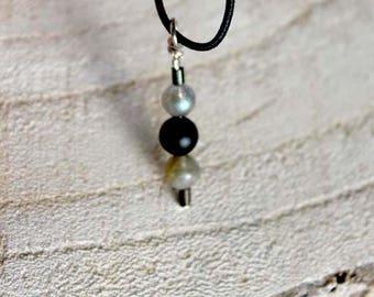 Pendant gemstone Labradorite and Obsidian