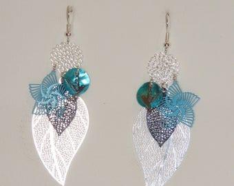 Leaf earrings, flowers, birds, prints, Silver earrings, turquoise, Blue Navy earrings