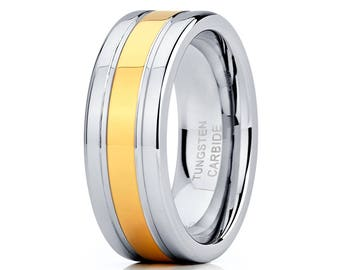 Yellow Gold Tungsten Wedding Band Men & Women Shiny Polish Ring Tungsten Carbide Ring Anniversary Ring Comfort Fit