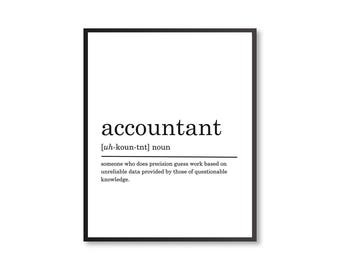 Accountant Definition Print, Accountant gift, Coworker gift, Funny Definition Print, Gift for Accountant, Office decor, DIGITAL DOWNLOAD