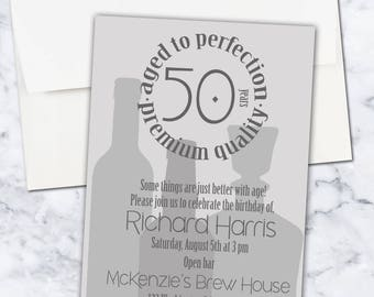 Aged to Perfection Birthday Party Invitation, 5x7, Digital Download, Gender Neutral