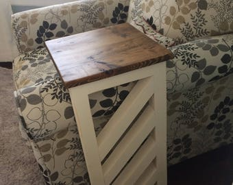 Rustic Slide Under Couch Or Chair End Table With Reclaimed Wood Top