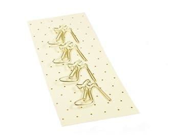 Set of 4 high hees gold paperclip.
