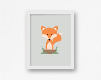 Fox Nursery Decor - Woodland Nursery Decor, Fox Nursery, Fox Print, Cute Fox, Fox Wall Art, Fox Decor, Nursery Decor, Nursery Art, Fox Art