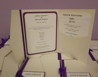 1 x Pocketfold sample Wedding Invitations ( Bow design )