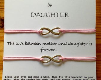 Mother and Daughter wish bracelets, The love between mother and daughter is forever, Make a Wish, Gift for Mom,