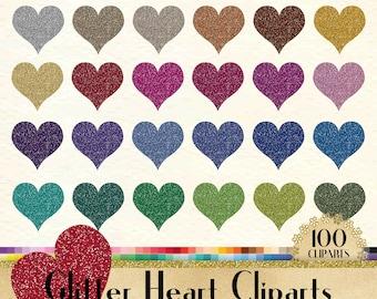 100 Glitter Heart Clipart, Heart Clipart, Glitter Clipart, Love Clipart, 100 PNG Clipart, Planner Clipart, Valentine Clip Arts