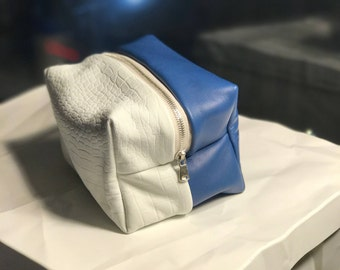 Blue Dream - Blue and White Python Embossed Leather Stash Bag
