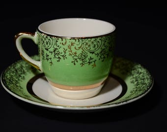 ARISTOCRAT by SALEM China Co., Demitasse Teacup, and saucer, Green and gold, Gold Rimmed, miniature, 23 Karat Gold, Vintage