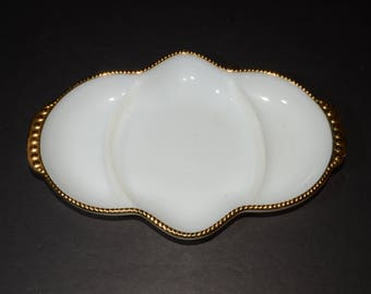 Vintage FIRE KING, White and Gold Trim, Anchor Hocking, 3 Parts, Divided Relish Dish Tray Serving Dish Milk Glass, Divided Plate